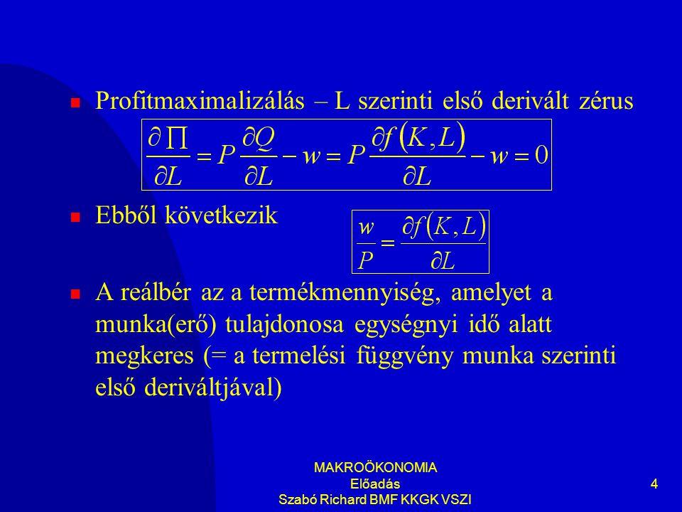 MAKROÖKONOMIA Előadás Szabó Richard BMF KKGK VSZI 4 Profitmaximalizálás – L szerinti első derivált zérus Ebből következik A reálbér az a termékmennyis
