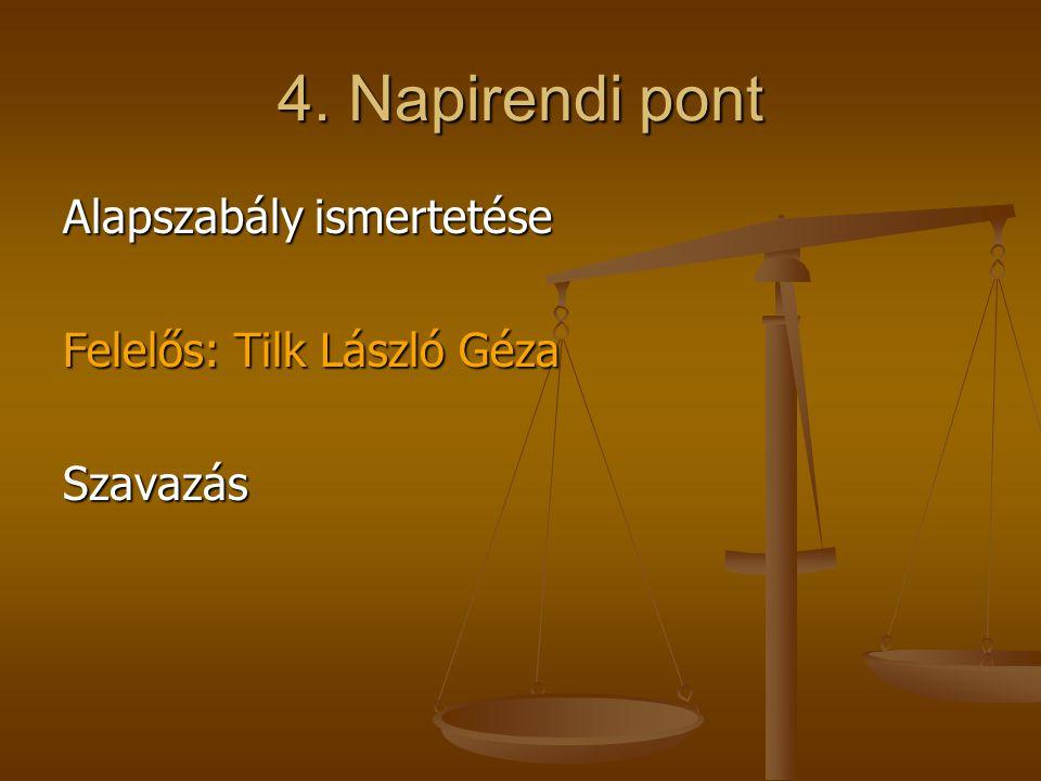 4. Napirendi pont Alapszabály ismertetése Felelős: Tilk László Géza Szavazás