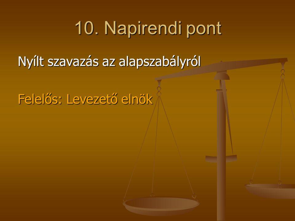 10. Napirendi pont Nyílt szavazás az alapszabályról Felelős: Levezető elnök