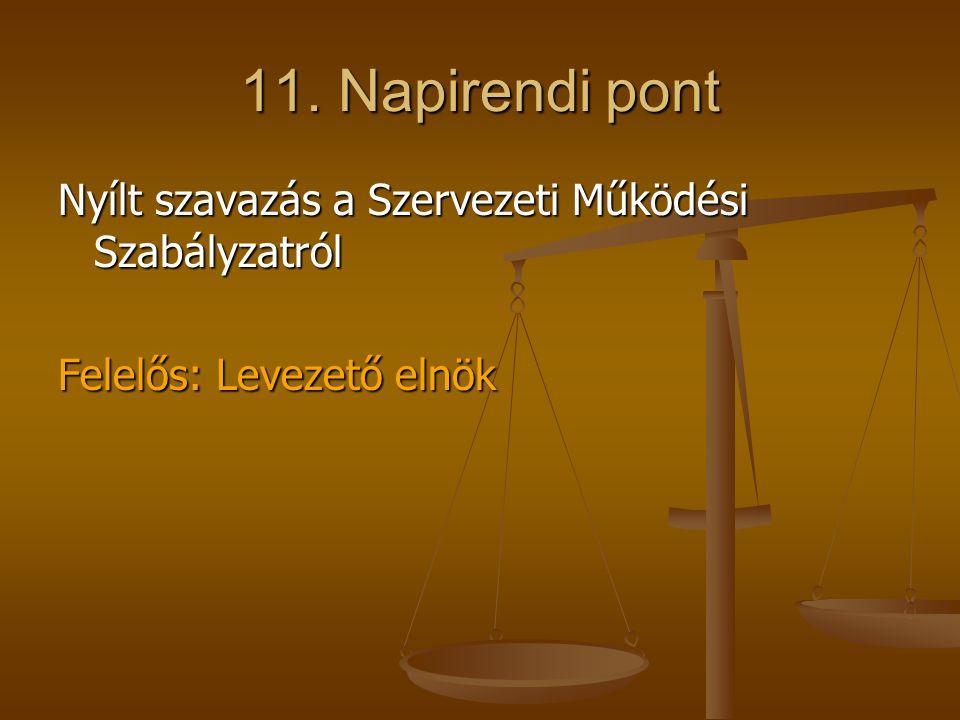 11. Napirendi pont Nyílt szavazás a Szervezeti Működési Szabályzatról Felelős: Levezető elnök