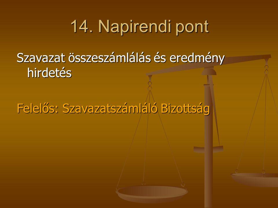 14. Napirendi pont Szavazat összeszámlálás és eredmény hirdetés Felelős: Szavazatszámláló Bizottság