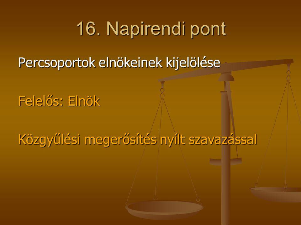 16. Napirendi pont Percsoportok elnökeinek kijelölése Felelős: Elnök Közgyűlési megerősítés nyílt szavazással