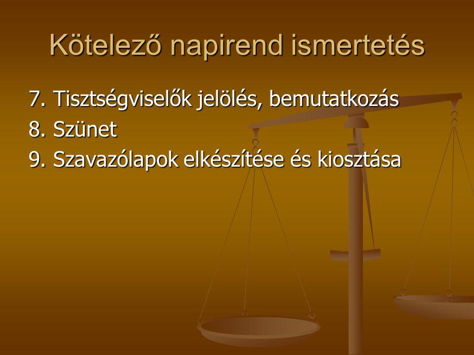 Kötelező napirend ismertetés 7. Tisztségviselők jelölés, bemutatkozás 8.