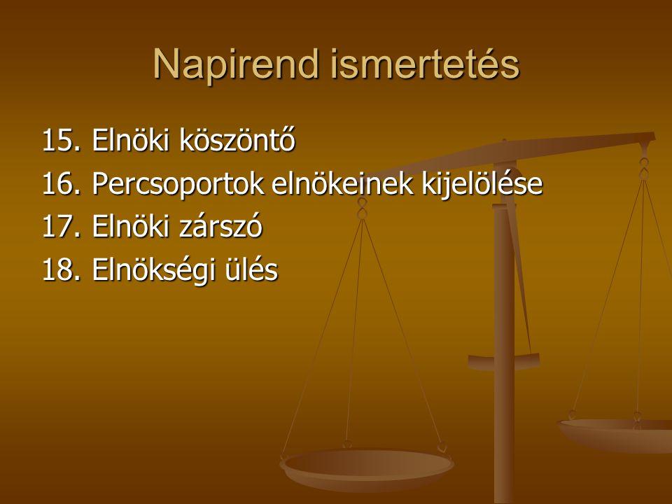 Napirend ismertetés 15. Elnöki köszöntő 16. Percsoportok elnökeinek kijelölése 17.
