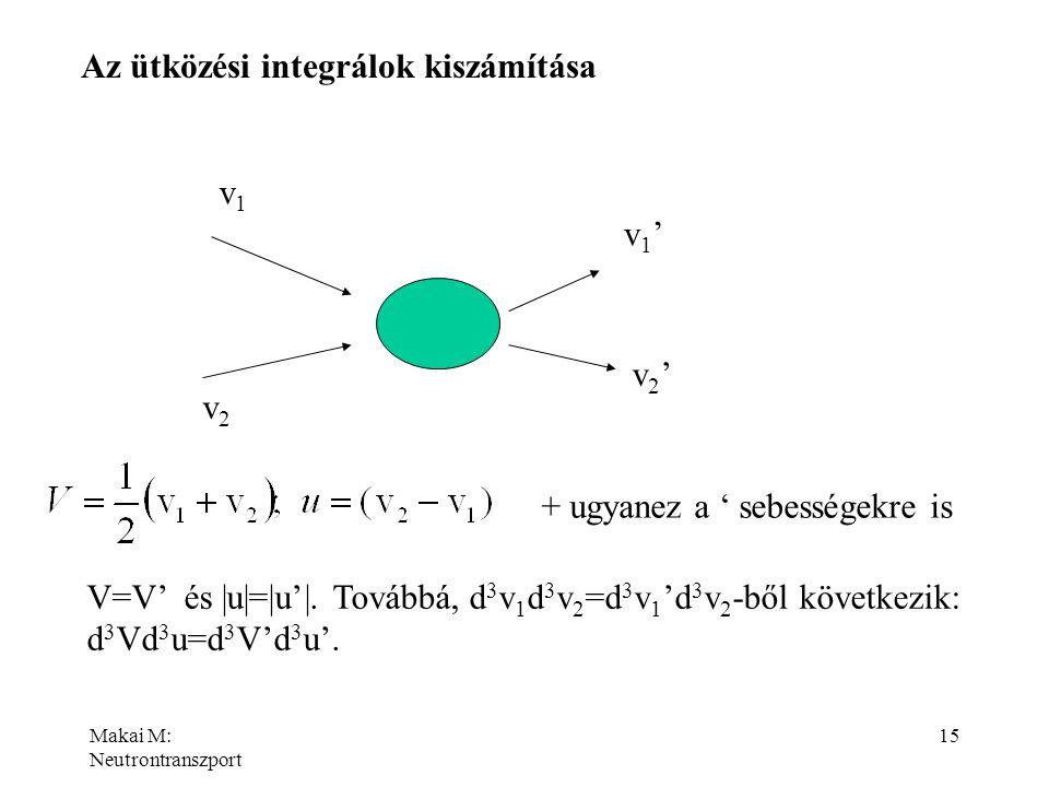 Makai M: Neutrontranszport 15 Az ütközési integrálok kiszámítása v1v1 v2v2 v1'v1' v2'v2' + ugyanez a ' sebességekre is V=V' és |u|=|u'|. Továbbá, d 3