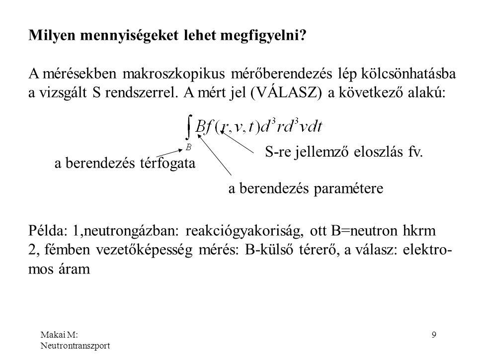 Makai M: Neutrontranszport 9 Milyen mennyiségeket lehet megfigyelni? A mérésekben makroszkopikus mérőberendezés lép kölcsönhatásba a vizsgált S rendsz