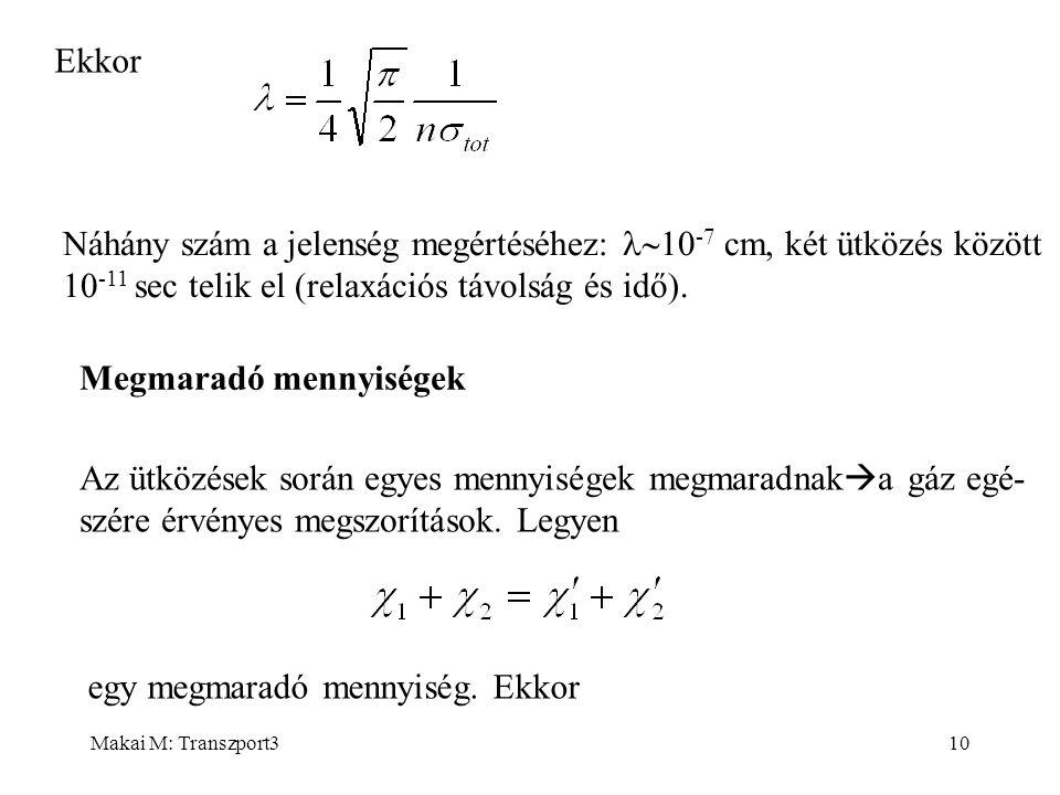 Makai M: Transzport310 Ekkor Náhány szám a jelenség megértéséhez: 10 -7 cm, két ütközés között 10 -11 sec telik el (relaxációs távolság és idő). Megm
