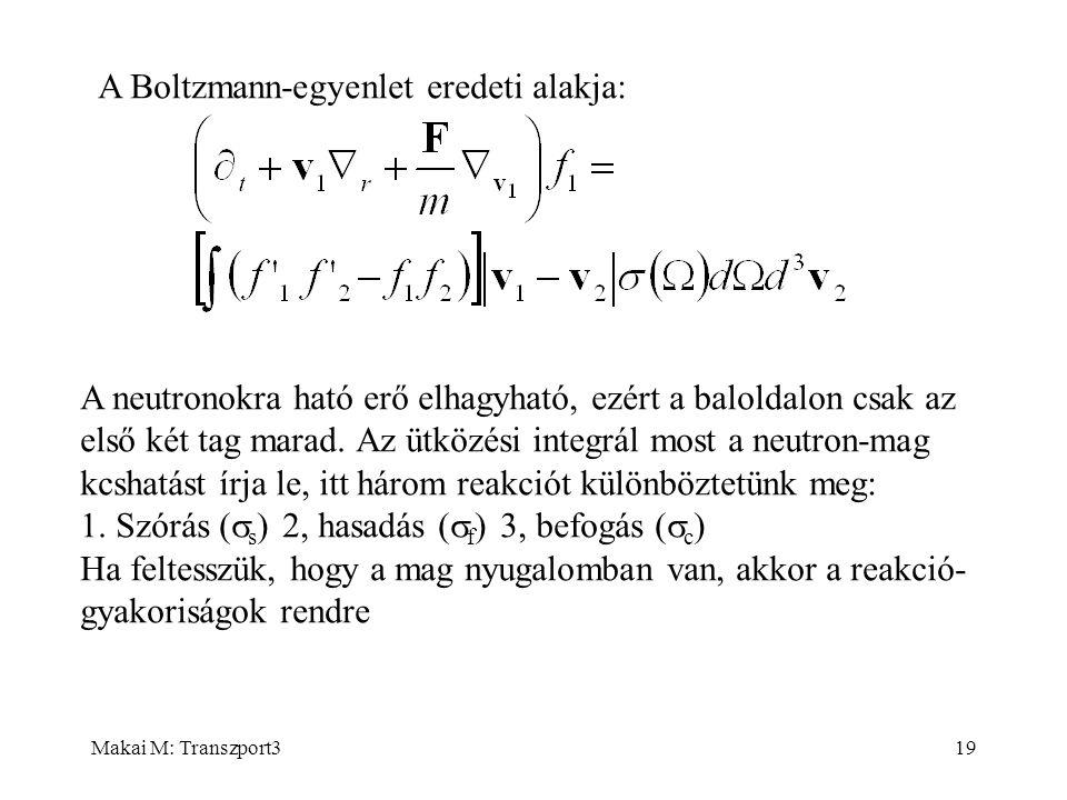 Makai M: Transzport319 A Boltzmann-egyenlet eredeti alakja: A neutronokra ható erő elhagyható, ezért a baloldalon csak az első két tag marad. Az ütköz