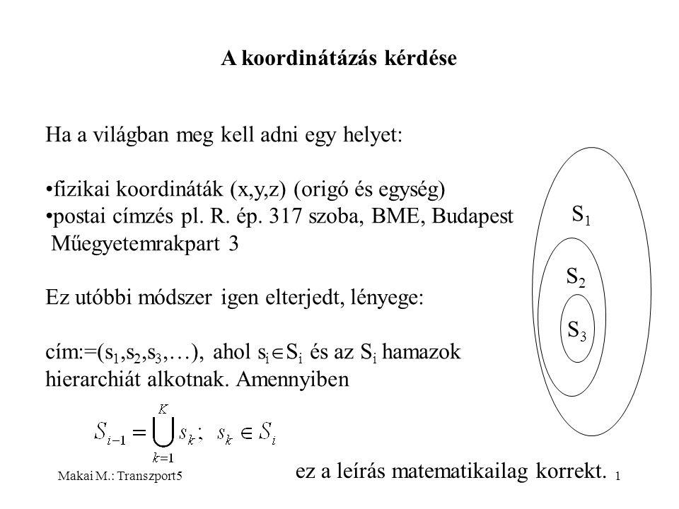 Makai M.: Transzport51 A koordinátázás kérdése Ha a világban meg kell adni egy helyet: fizikai koordináták (x,y,z) (origó és egység) postai címzés pl.