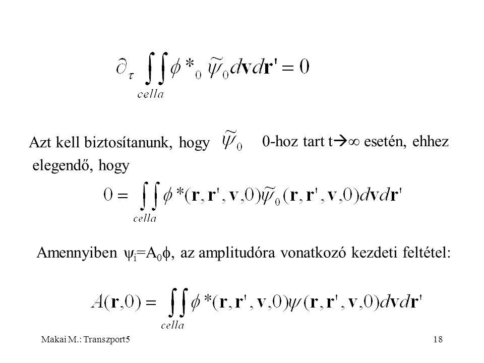 Makai M.: Transzport518 Azt kell biztosítanunk, hogy 0-hoz tart t   esetén, ehhez elegendő, hogy Amennyiben  i =A 0 , az amplitudóra vonatkozó kezdeti feltétel: