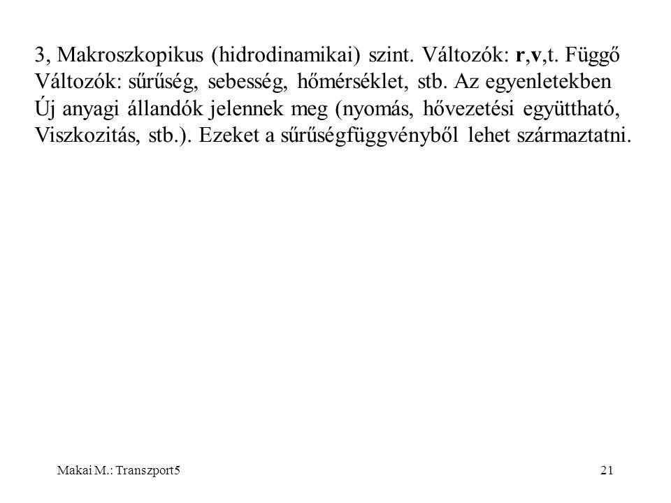 Makai M.: Transzport521 3, Makroszkopikus (hidrodinamikai) szint.