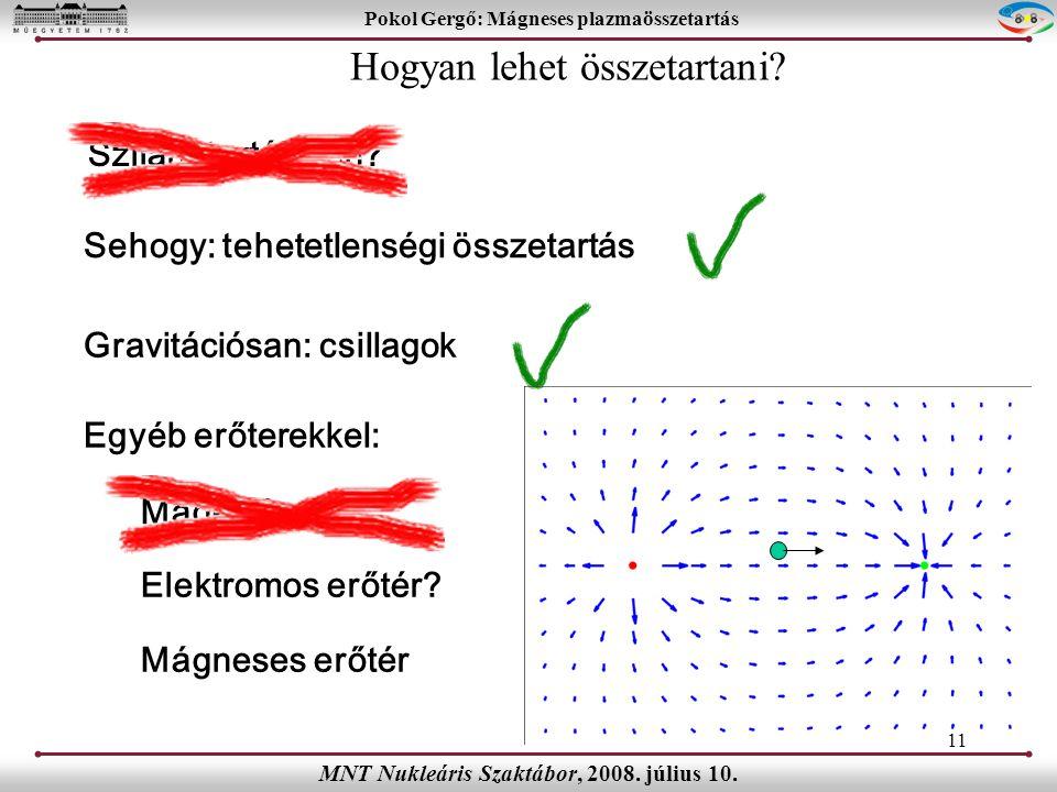 11 Pokol Gergő: Mágneses plazmaösszetartás MNT Nukleáris Szaktábor, 2008.