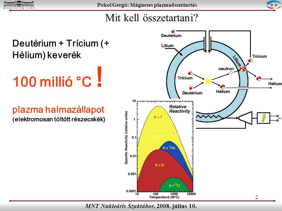 13 Pokol Gergő: Mágneses plazmaösszetartás MNT Nukleáris Szaktábor, 2008.