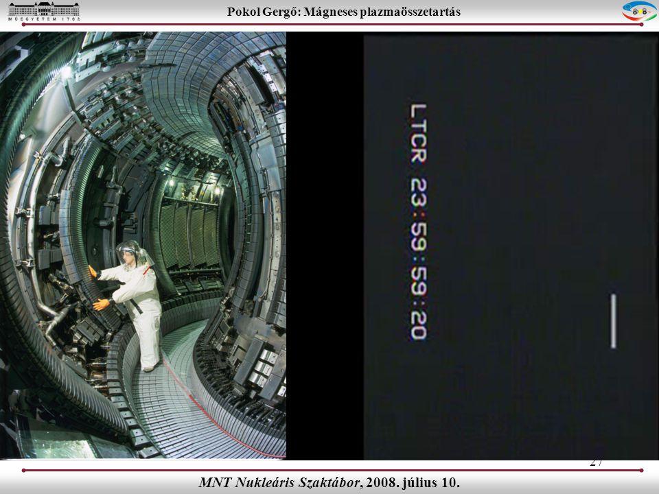 27 Pokol Gergő: Mágneses plazmaösszetartás MNT Nukleáris Szaktábor, 2008. július 10.