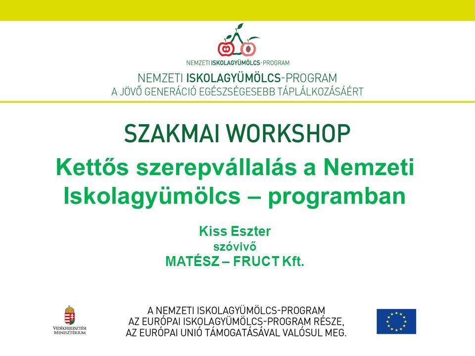 Kettős szerepvállalás a Nemzeti Iskolagyümölcs – programban Kiss Eszter szóvivő MATÉSZ – FRUCT Kft.