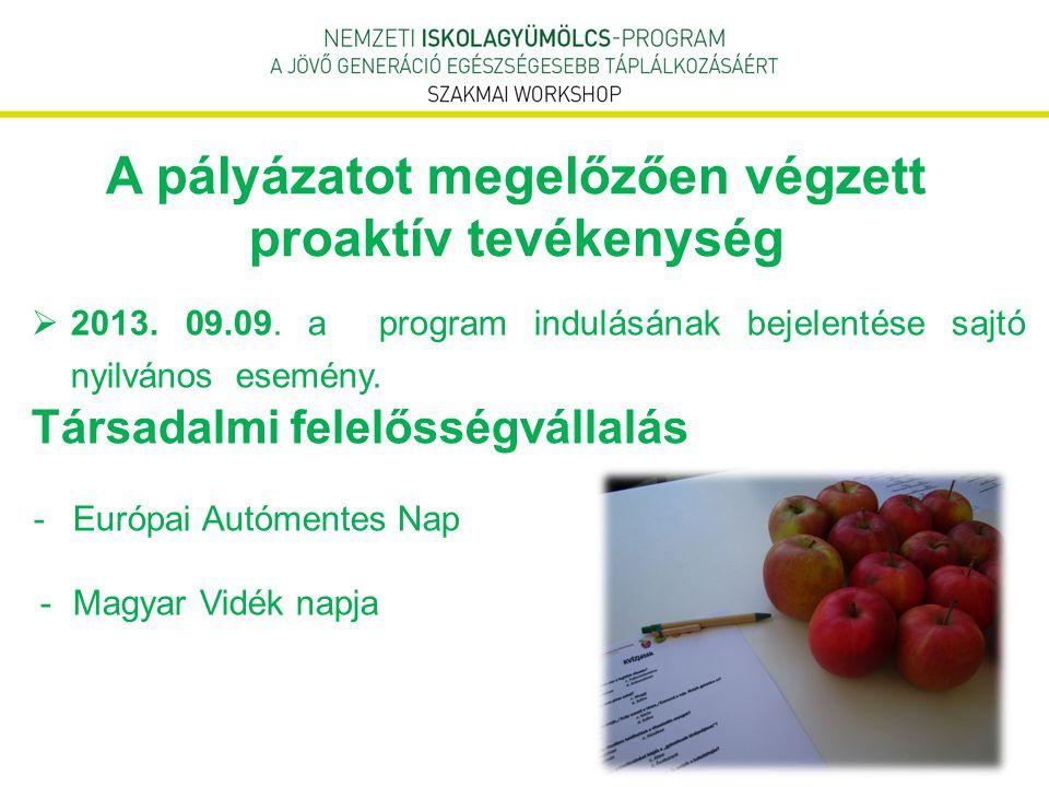 A pályázatot megelőzően végzett proaktív tevékenység  2013. 09.09. a program indulásának bejelentése sajtó nyilvános esemény. Társadalmi felelősségvá