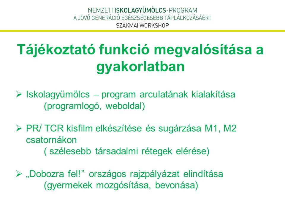 Tájékoztató funkció megvalósítása a gyakorlatban  Iskolagyümölcs – program arculatának kialakítása (programlogó, weboldal)  PR/ TCR kisfilm elkészít
