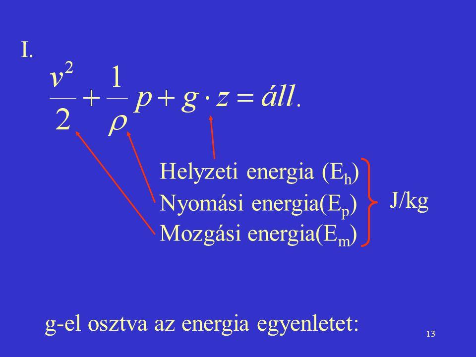 13 I. Helyzeti energia (E h ) Nyomási energia(E p ) Mozgási energia(E m ) J/kg g-el osztva az energia egyenletet: