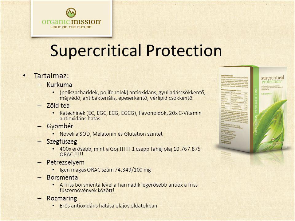 Supercritical Protection Tartalmaz: – Kurkuma (poliszacharidek, polifenolok) antioxidáns, gyulladáscsökkentő, májvédő, antibakteriális, epeserkentő, vérlipid csökkentő – Zöld tea Katechinek (EC, EGC, ECG, EGCG), flavonoidok, 20x C-Vitamin antioxidáns hatás – Gyömbér Növeli a SOD, Melatonin és Glutation szintet – Szegfűszeg 400x erősebb, mint a Goji!!!!!.