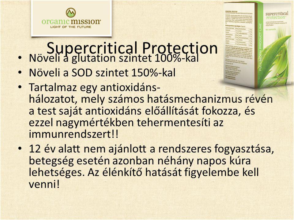 Supercritical Protection Növeli a glutation szintet 100%-kal Növeli a SOD szintet 150%-kal Tartalmaz egy antioxidáns- hálozatot, mely számos hatásmechanizmus révén a test saját antioxidáns előállítását fokozza, és ezzel nagymértékben tehermentesíti az immunrendszert!.