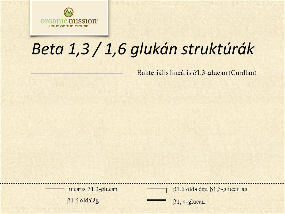 Beta 1,3 / 1,6 glukán struktúrák lineáris  1,3-glucan  1,6 oldalág  1,6 oldalágú  1,3-glucan ág  1, 4-glucan Bakteriális lineáris  1,3-glucan (Curdlan)