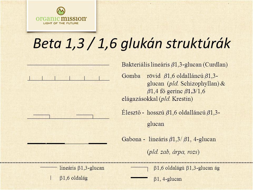 lineáris  1,3-glucan  1,6 oldalág  1,6 oldalágú  1,3-glucan ág  1, 4-glucan Bakteriális lineáris  1,3-glucan (Curdlan) Gomba rövid  1,6 oldalláncú  1,3- glucan (pld.