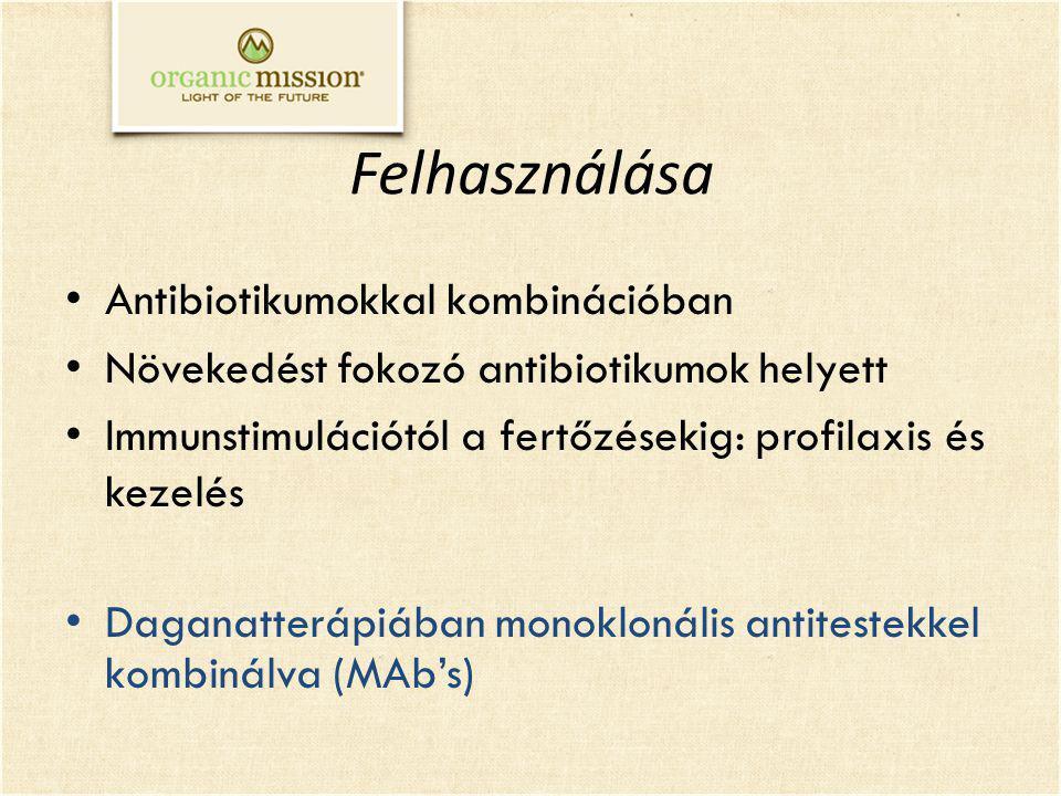 Felhasználása Antibiotikumokkal kombinációban Növekedést fokozó antibiotikumok helyett Immunstimulációtól a fertőzésekig: profilaxis és kezelés Daganatterápiában monoklonális antitestekkel kombinálva (MAb's)