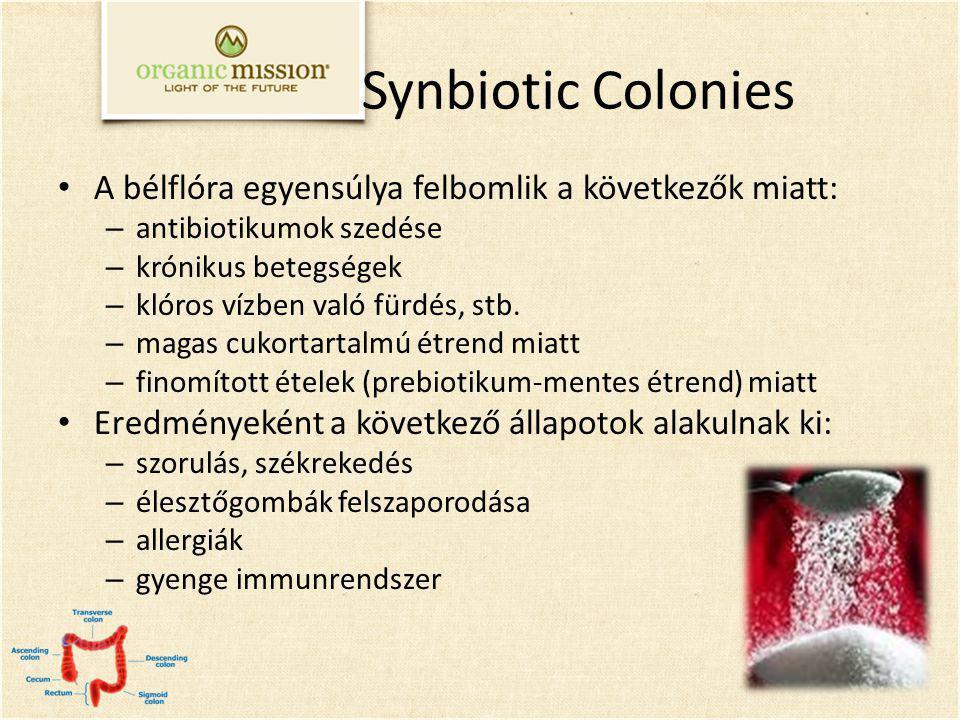 Synbiotic Colonies A bélflóra egyensúlya felbomlik a következők miatt: – antibiotikumok szedése – krónikus betegségek – klóros vízben való fürdés, stb.