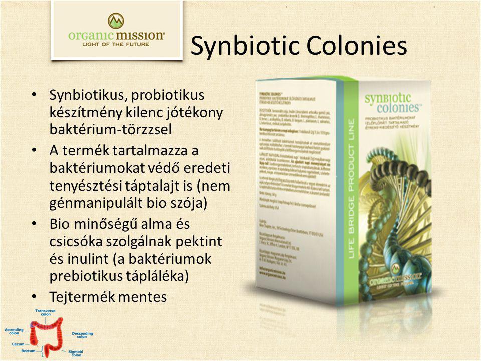 Synbiotikus, probiotikus készítmény kilenc jótékony baktérium-törzzsel A termék tartalmazza a baktériumokat védő eredeti tenyésztési táptalajt is (nem génmanipulált bio szója) Bio minőségű alma és csicsóka szolgálnak pektint és inulint (a baktériumok prebiotikus tápláléka) Tejtermék mentes Synbiotic Colonies
