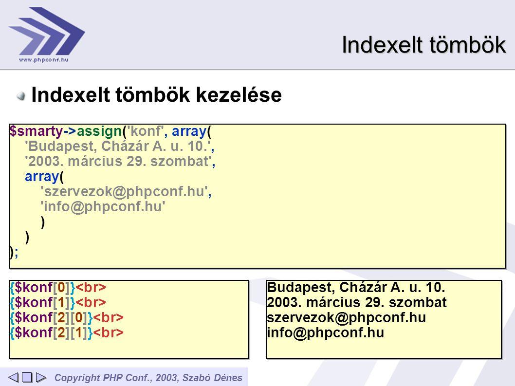 Copyright PHP Conf., 2003, Szabó Dénes Indexelt tömbök Indexelt tömbök kezelése $smarty->assign('konf', array( 'Budapest, Cházár A. u. 10.', '2003. má