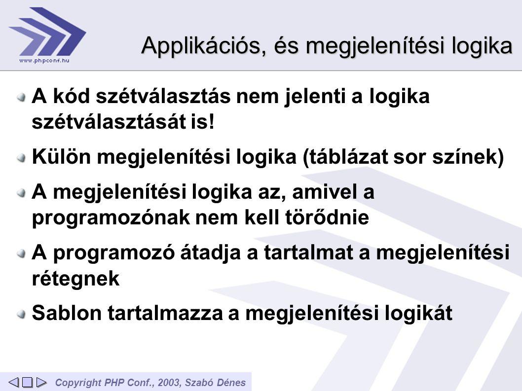Copyright PHP Conf., 2003, Szabó Dénes Applikációs, és megjelenítési logika A kód szétválasztás nem jelenti a logika szétválasztását is! Külön megjele
