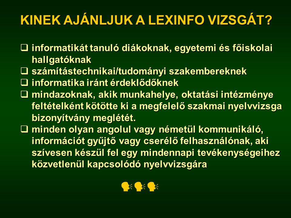 A LEXINFO nyelvvizsga szerkezete 3.