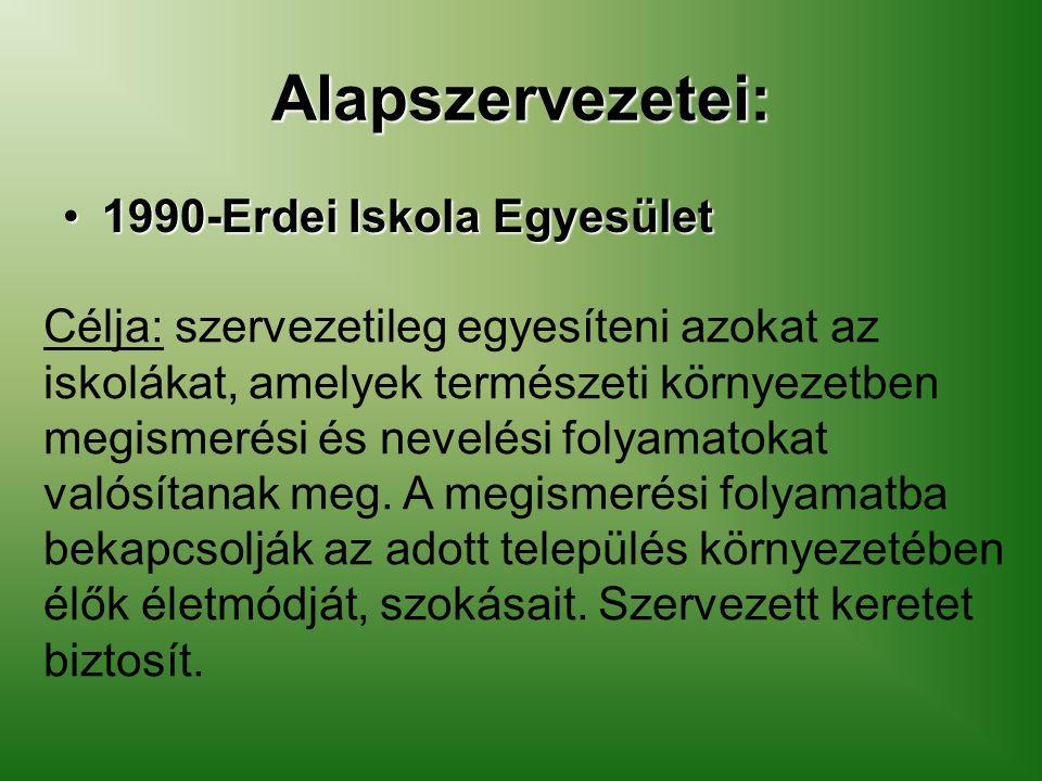 Alapszervezetei: 1990-Erdei Iskola Egyesület1990-Erdei Iskola Egyesület Célja: szervezetileg egyesíteni azokat az iskolákat, amelyek természeti környe