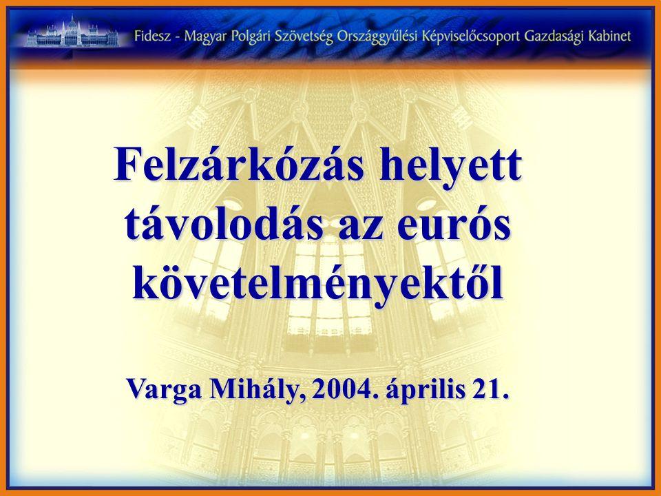 Felzárkózás helyett távolodás az eurós követelményektől Varga Mihály, 2004. április 21.
