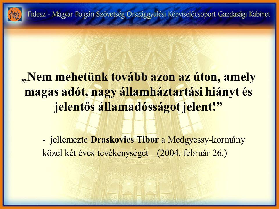 """""""Nem mehetünk tovább azon az úton, amely magas adót, nagy államháztartási hiányt és jelentős államadósságot jelent! - jellemezte Draskovics Tibor a Medgyessy-kormány közel két éves tevékenységét (2004."""