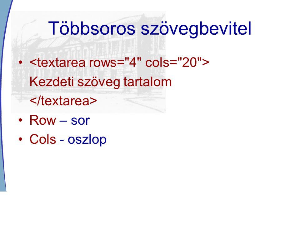 Többsoros szövegbevitel Kezdeti szöveg tartalom Row – sor Cols - oszlop