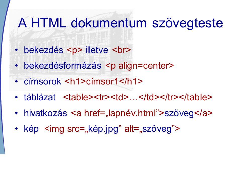 A HTML dokumentum szövegteste bekezdés illetve bekezdésformázás címsorok címsor1 táblázat … hivatkozás szöveg kép