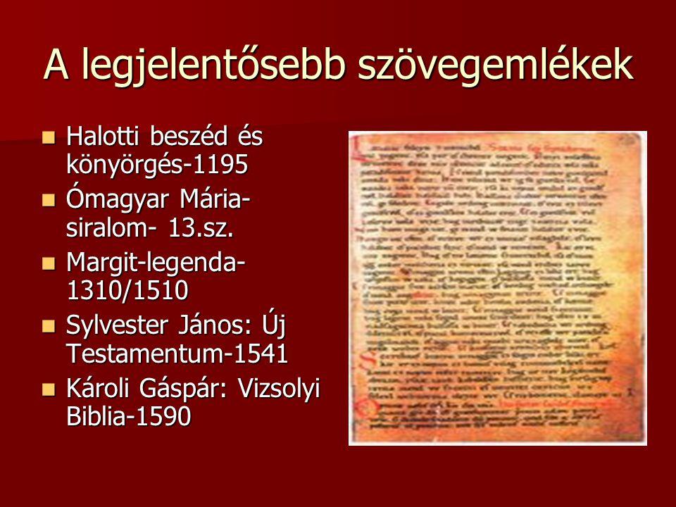 A legjelentősebb szövegemlékek Halotti beszéd és könyörgés-1195 Halotti beszéd és könyörgés-1195 Ómagyar Mária- siralom- 13.sz. Ómagyar Mária- siralom
