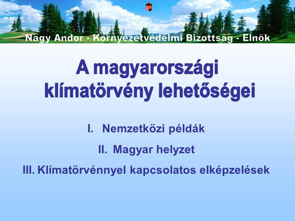 I.Nemzetközi példák II.Magyar helyzet III.Klímatörvénnyel kapcsolatos elképzelések