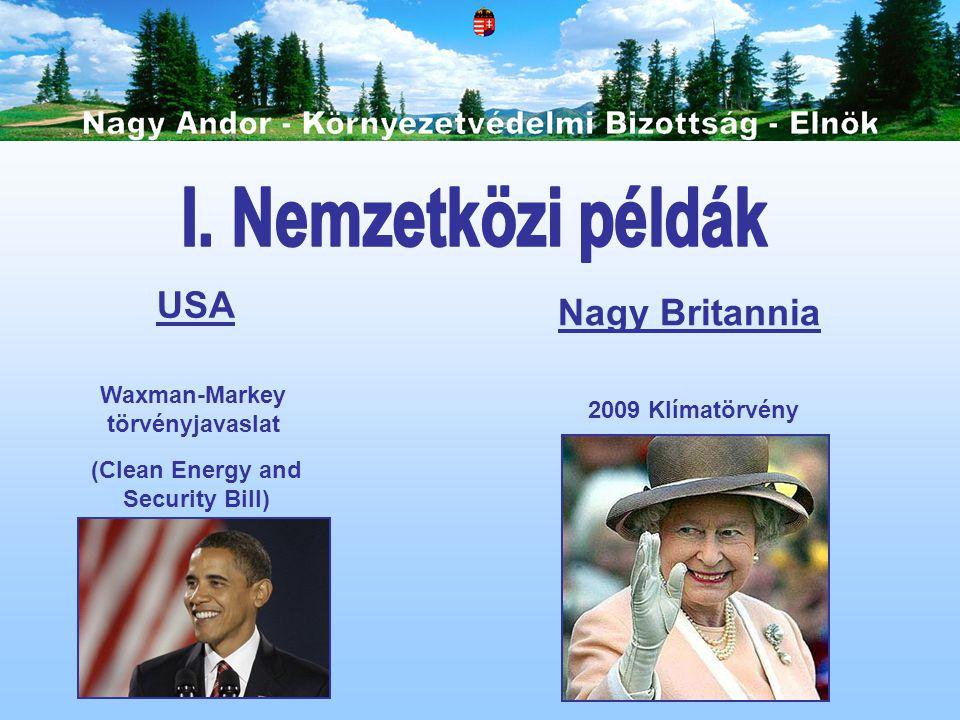 Waxman-Markey törvényjavaslat (Clean Energy and Security Bill) USA Nagy Britannia 2009 Klímatörvény