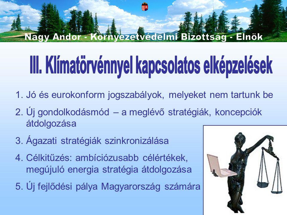 1.Jó és eurokonform jogszabályok, melyeket nem tartunk be 2.Új gondolkodásmód – a meglévő stratégiák, koncepciók átdolgozása 3.Ágazati stratégiák szin