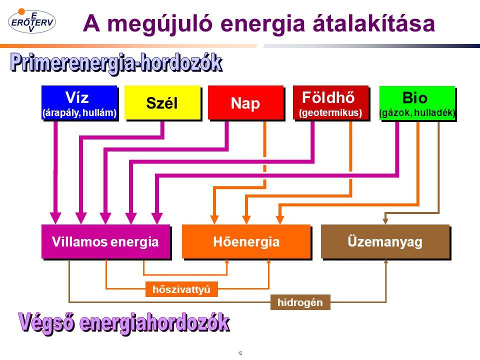 12 A megújuló energia átalakítása Villamos energia Hőenergia Üzemanyag Víz (árapály, hullám) Víz (árapály, hullám) Szél Nap hőszivattyú hidrogén Földhő (geotermikus) Földhő (geotermikus) Bio (gázok, hulladék) Bio (gázok, hulladék)