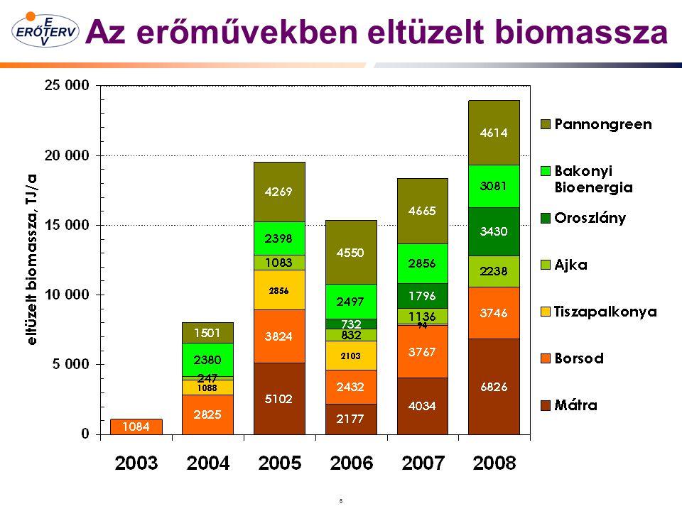 6 Az erőművekben eltüzelt biomassza