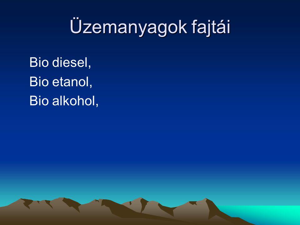 Üzemanyagok fajtái Bio diesel, Bio etanol, Bio alkohol,