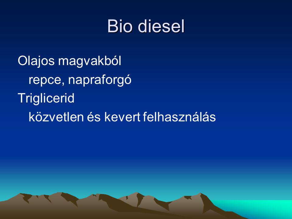 Bio diesel Olajos magvakból repce, napraforgó Triglicerid közvetlen és kevert felhasználás