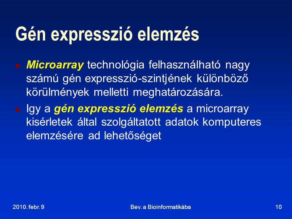 2010. febr. 9Bev. a Bioinformatikába10 Gén expresszió elemzés Microarray technológia felhasználható nagy számú gén expresszió-szintjének különböző kör