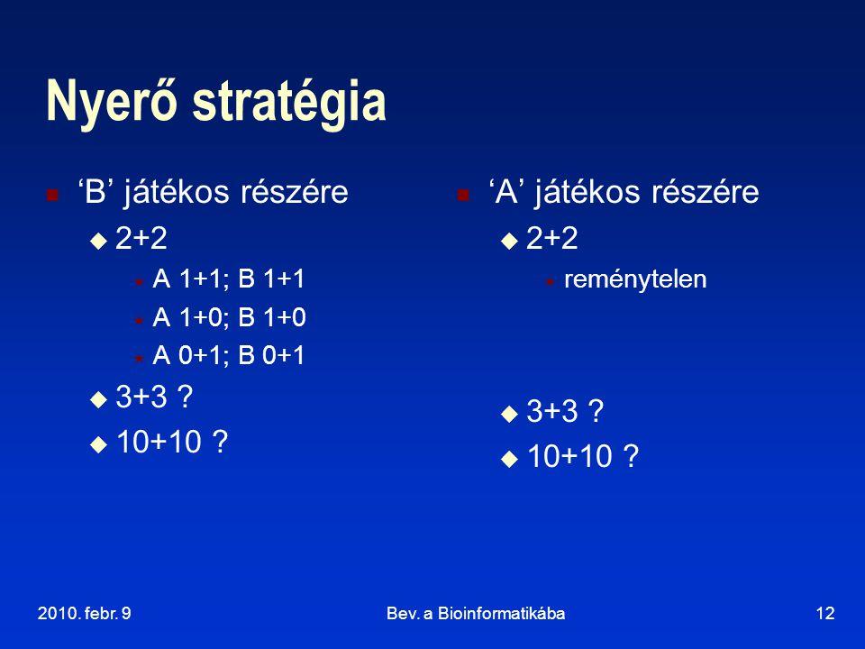 2010. febr. 9Bev. a Bioinformatikába12 Nyerő stratégia 'B' játékos részére  2+2  A 1+1; B 1+1  A 1+0; B 1+0  A 0+1; B 0+1  3+3 ?  10+10 ? 'A' já