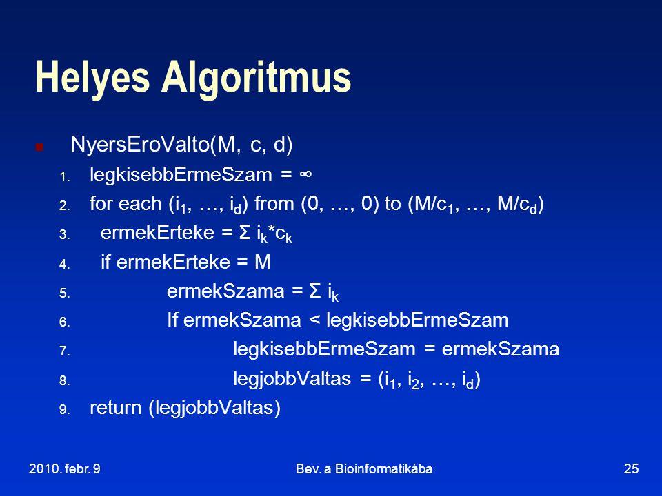 2010. febr. 9Bev. a Bioinformatikába25 Helyes Algoritmus NyersEroValto(M, c, d) 1. legkisebbErmeSzam = ∞ 2. for each (i 1, …, i d ) from (0, …, 0) to