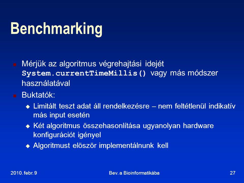 2010. febr. 9Bev. a Bioinformatikába27 Benchmarking Mérjük az algoritmus végrehajtási idejét System.currentTimeMillis() vagy más módszer használatával