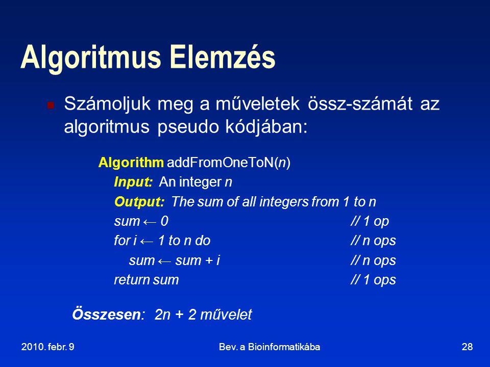 2010. febr. 9Bev. a Bioinformatikába28 Algoritmus Elemzés Számoljuk meg a műveletek össz-számát az algoritmus pseudo kódjában: Algorithm addFromOneToN